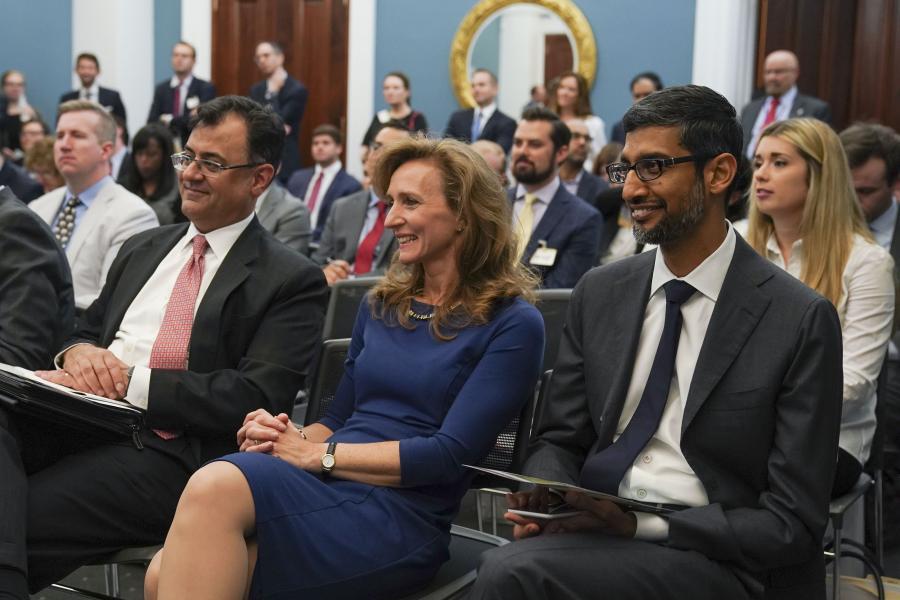 "Karan Bhatia of Google, Laura Lane of UPS, and Sundar Pichai of Google attend ""Digital Trade: Empowering U.S. Small Businesses to Export"" on June 12."