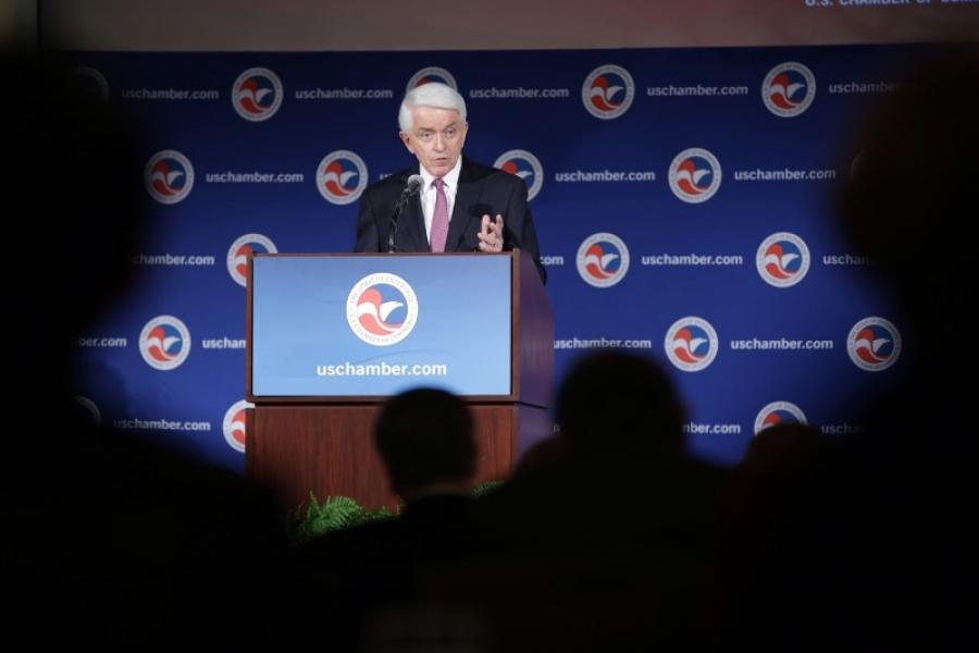 U.S. Chamber President and CEO Tom Donohue delivering the 2015 State of American Business Address.