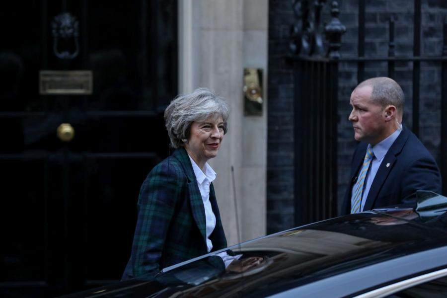 UK Prime Minister Theresa May leaves number 10 Downing Street in London.