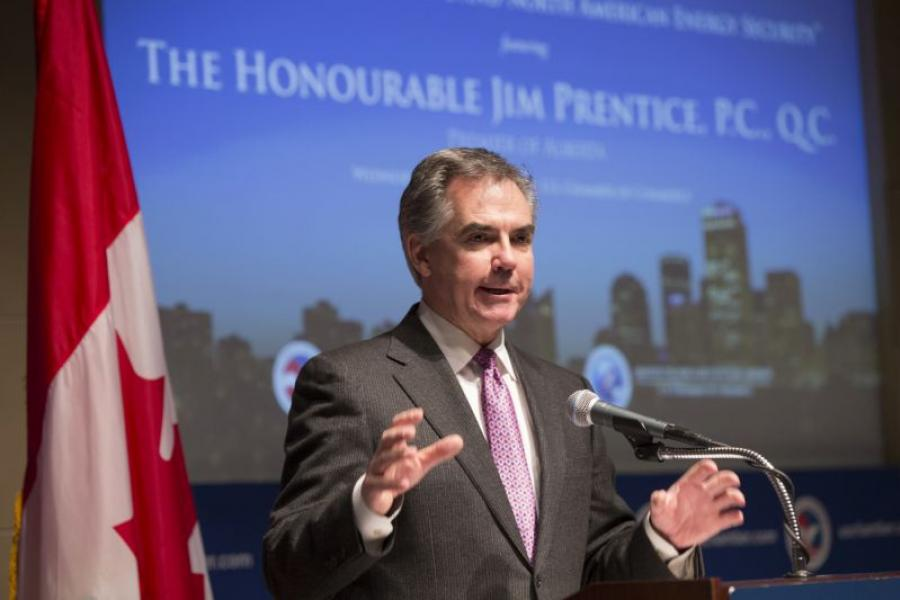 Alberta's Premier Jim Prentice speaks at the U.S. Chamber of Commerce.