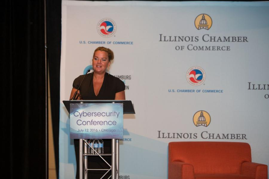 Ann Beauchesne, the U.S. Chamber's senior vice president for national security and emergency preparedness speaks at a cybersecurity summit in Chicago.