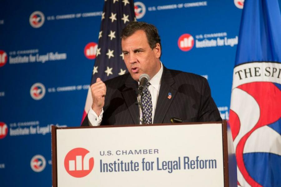 New Jersey Gov. Chris Christie speaking at the Institute for Legal Reform Summit.
