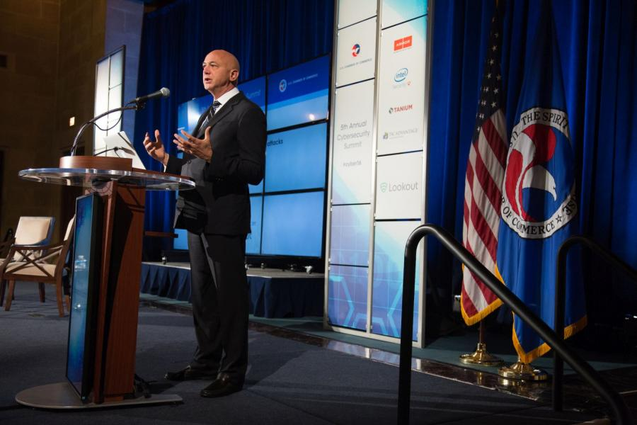 Jim Dolce, CEO of Lookout, speaks at the U.S. Chamber's 5th Annual Cybersecurity conference.