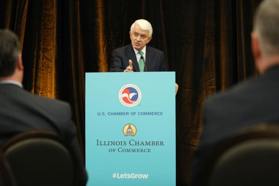 U.S. Chamber President and CEO Tom Donohue speaking in Chicago before the Illinois Chamber of Commerce.