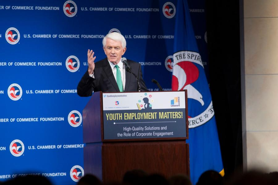 Tom Donohue speaking about youth employment at the U.S. Chamber.