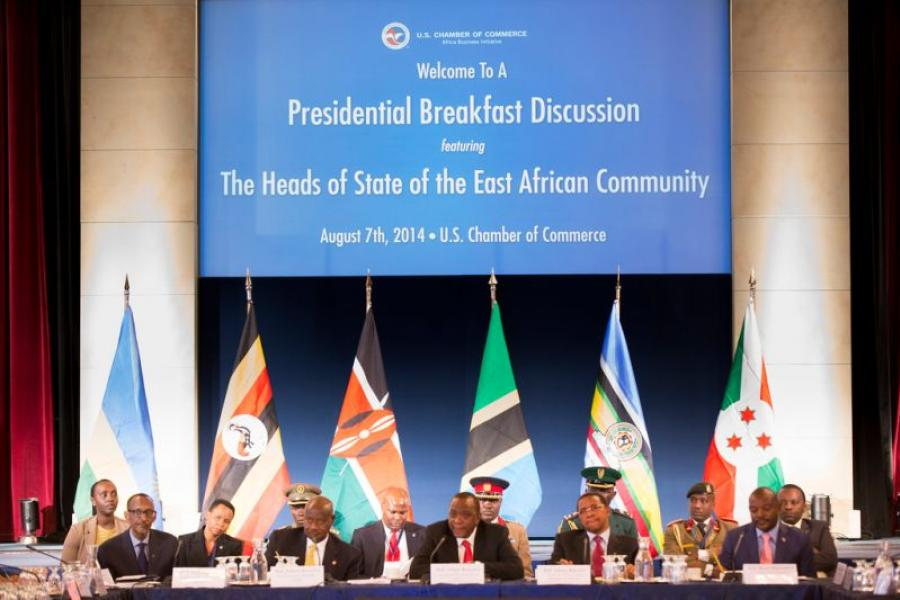 Tanzania President Jakaya Kikwete; Kenya President Uhuru Kenyatta; Uganda President Yoweri Museveni; Rwanda President Paul Kagam; Burundi President Pierre Nkurunziza