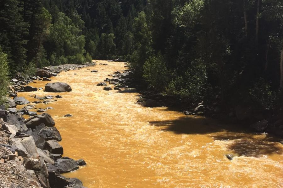 The Animas River between Silverton and Durango, Colo. within 24 hours of the 2015 Gold King Mine waste water spill.