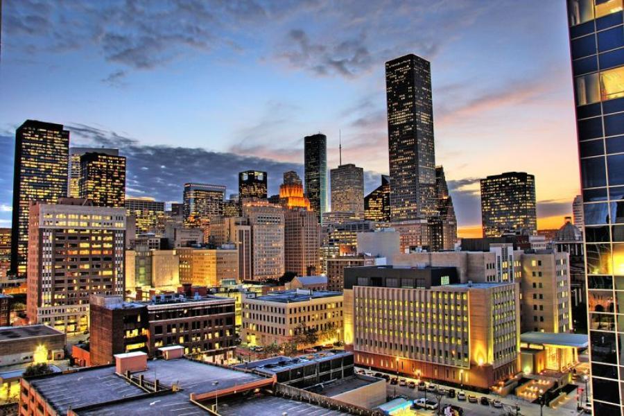Downtown Houston, TX at night.