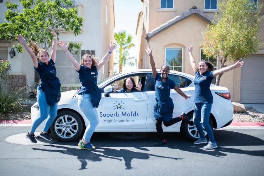 Elena Ledoux, CEO of Superb Maids in Las Vegas, with her team.