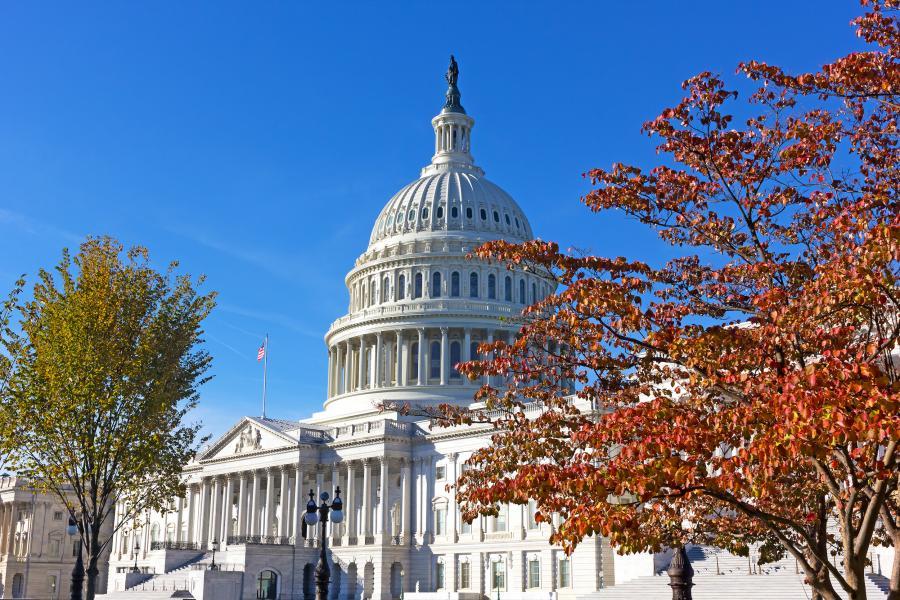 United States Capitol in autumn, Washington DC, USA