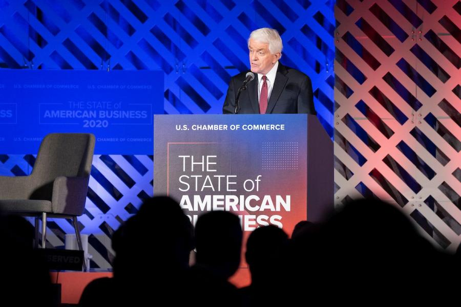 U.S. Chamber CEO Tom Donohue speaking at the 2020 State of American Business.