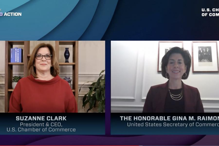 Suzanne Clark and Commerce Secretary Gina Raimondo at the Workforce: A Call to Action summit.