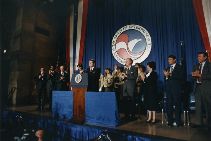 President Ronald Reagan speaking to a gathering of the American Tort Reform Association in May 1986 at the International Hall of Flags