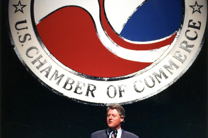 President Bill Clinton addressing the U.S. Chamber of Commerce Foundation in February 1993 at Constitution Hall