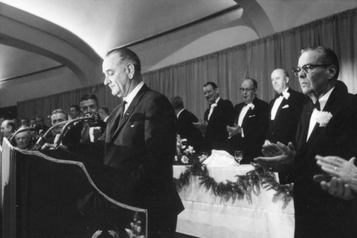 President Lyndon Johnson attending the Chamber of Commerce 53rd annual meeting dinner gala in April 1965.