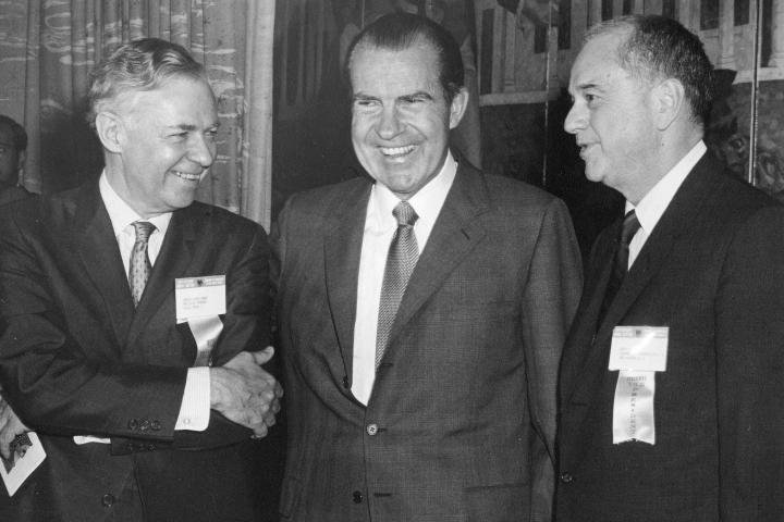 U.S. President Richard Nixon shown with Chamber President Jenkin Lloyd Jones (left) and Chamber Executive Vice President Arch Booth