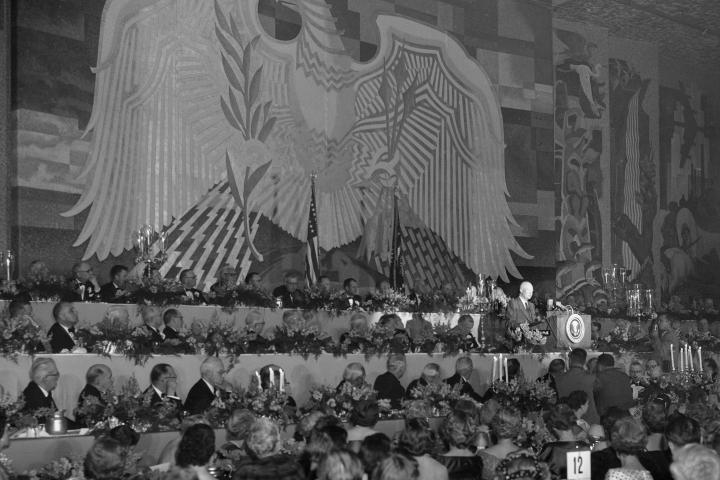 President Dwight D. Eisenhower speaking at the Chamber of Commerce's annual dinner.