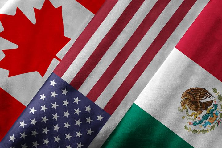 United States, Canada, and Mexico flags