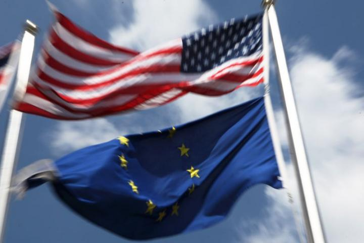 European Union and United States flags.
