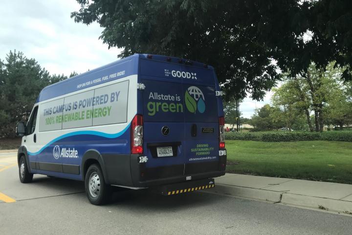 Allstate green bus