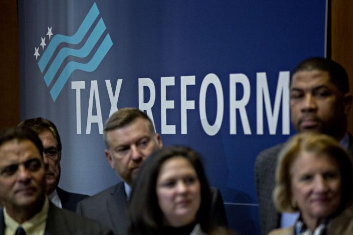 Tax reform supporters at a news conference in Washington, D.C.