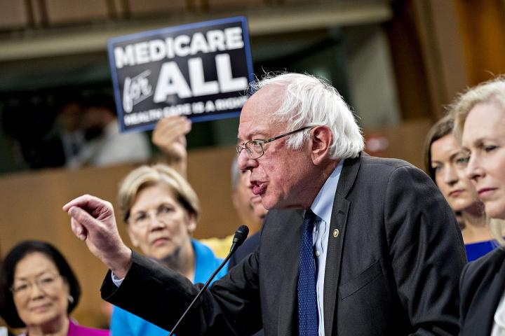 Senator Bernie Sanders (I-VT) speaks at a health care news conference on Capitol Hill in Washington, D.C.
