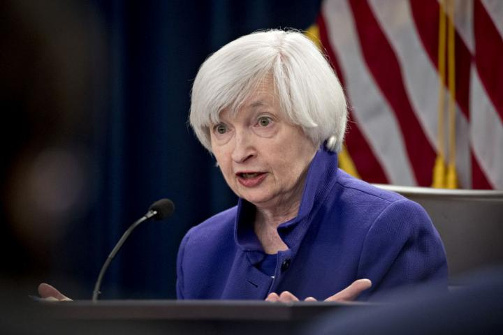 Former Federal Reserve Chair Janet Yellen at a press conference.