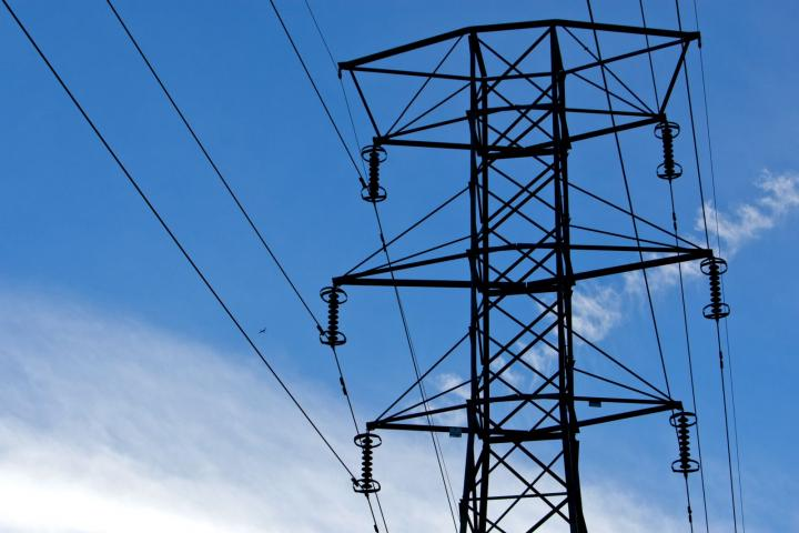 Power transmission lines are suspended from an electricity pylon in Clifton, New Jersey.