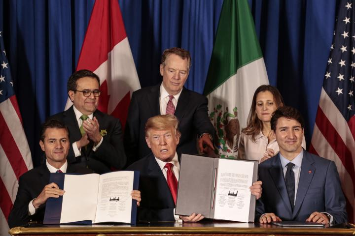 Enrique Pena Nieto, Mexico's president, President Donald Trump, and Canada's Prime Minister Justin Trudeau after signing the United States-Mexico-Canada Agreement.