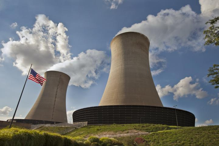 nuclear twin cooling towers with flag