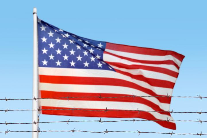 American Flag with Barbed Wire