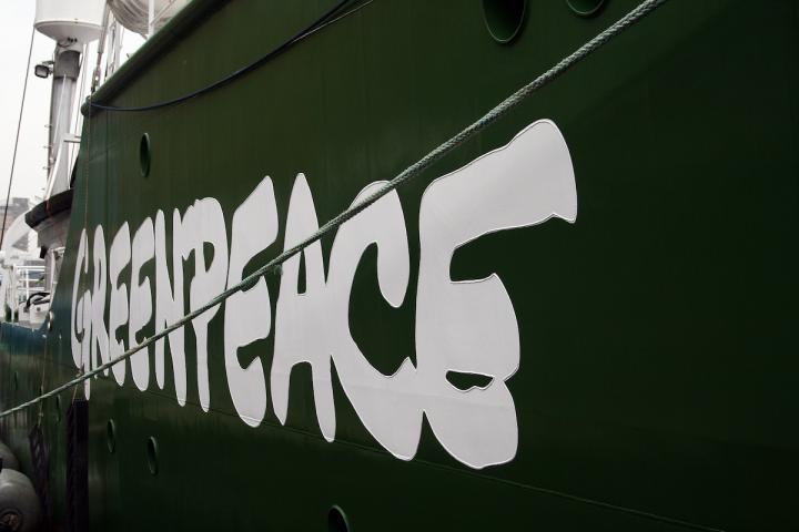 Greenpeace's Rainbow Warrior III in London.