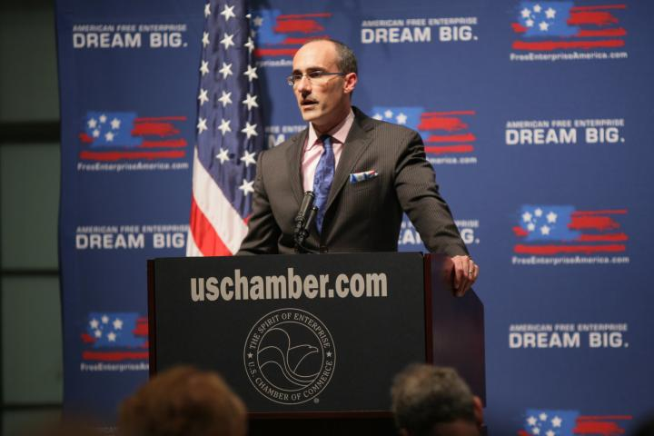 American Enterprise Institute President Arthur Brooks talks about the free enterprise system. With David Chavern / Photo by Ian Wagreich © U.S. Chamber of Commerce
