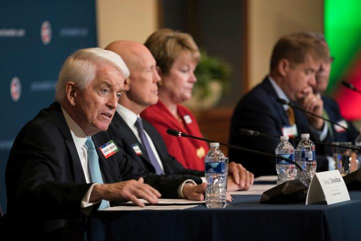 U.S. Chamber of Commerce CEO Tom Donohue (left) and business association executives call for Congress to ratify the USMCA trade agreement.