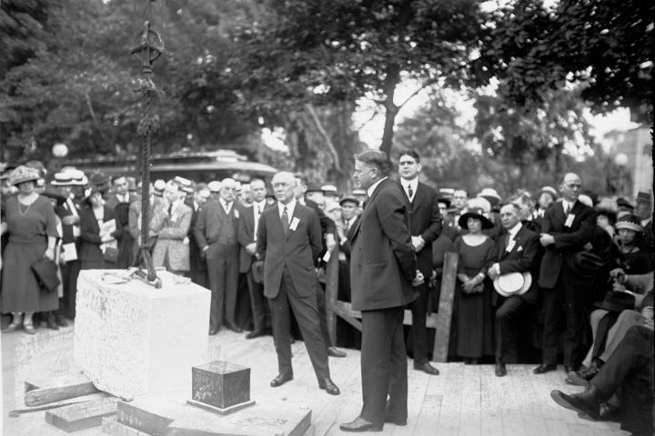 Secretary of Commerce and future President Herbert Hoover attended the Chamber's cornerstone laying ceremony in May 1922