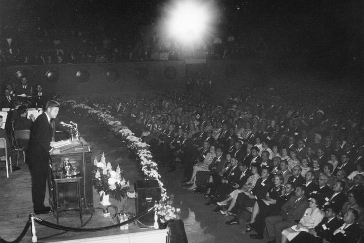 President John F. Kennedy talking at the Chamber's 50th annual meeting in April 1962 at Constitution Hall