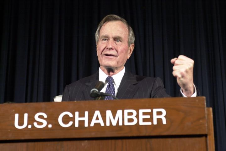 Former President George H.W. Bush visiting the Chamber in January 2001