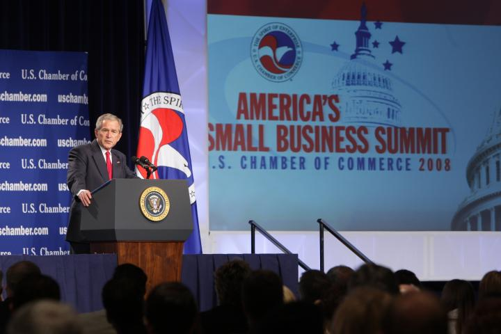 President George W. Bush giving remarks at the U.S. Chamber's Small Business Summit in April 2008