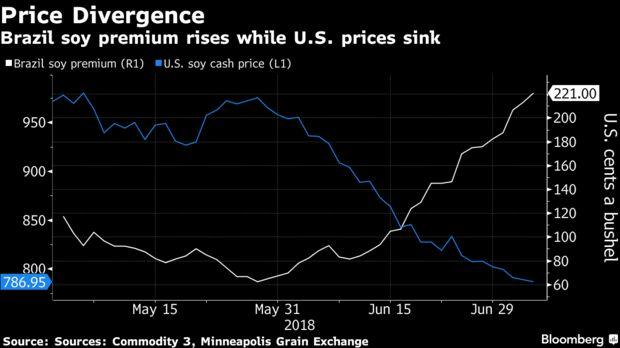 Brazil soy premium rises while U.S. prices sink.