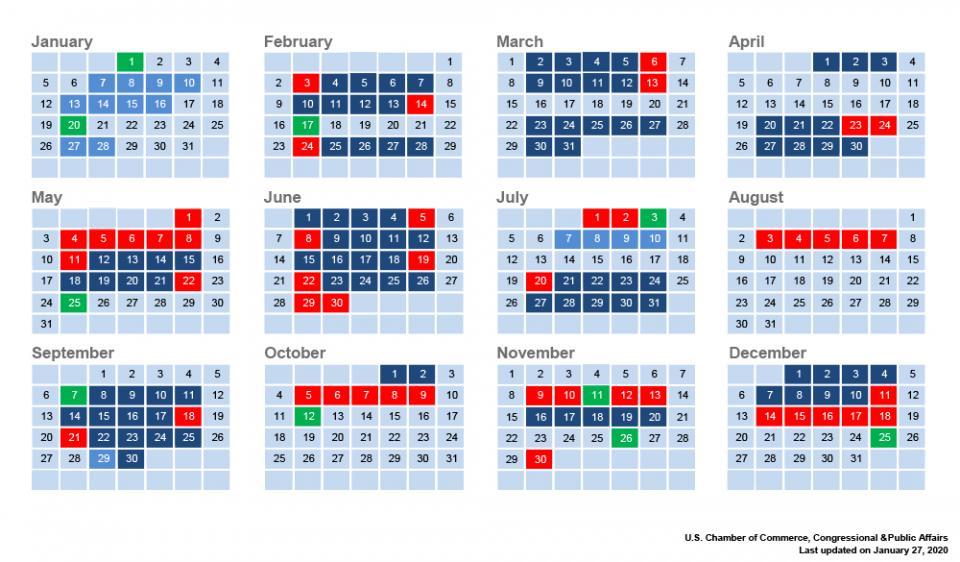 2020 Congressional Calendar