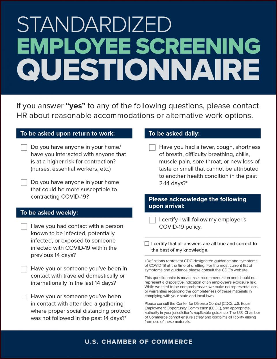 Coronavirus Employee Questionnaire