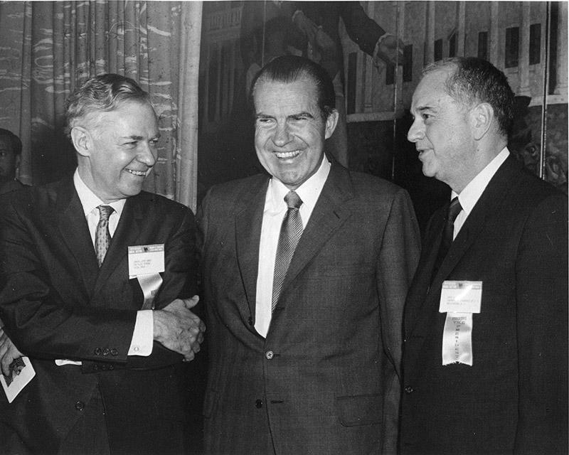 President Richard Nixon with Arch Booth, President of the U. S. Chamber of Commerce (right) at 1969 Chamber Annual Meeting.