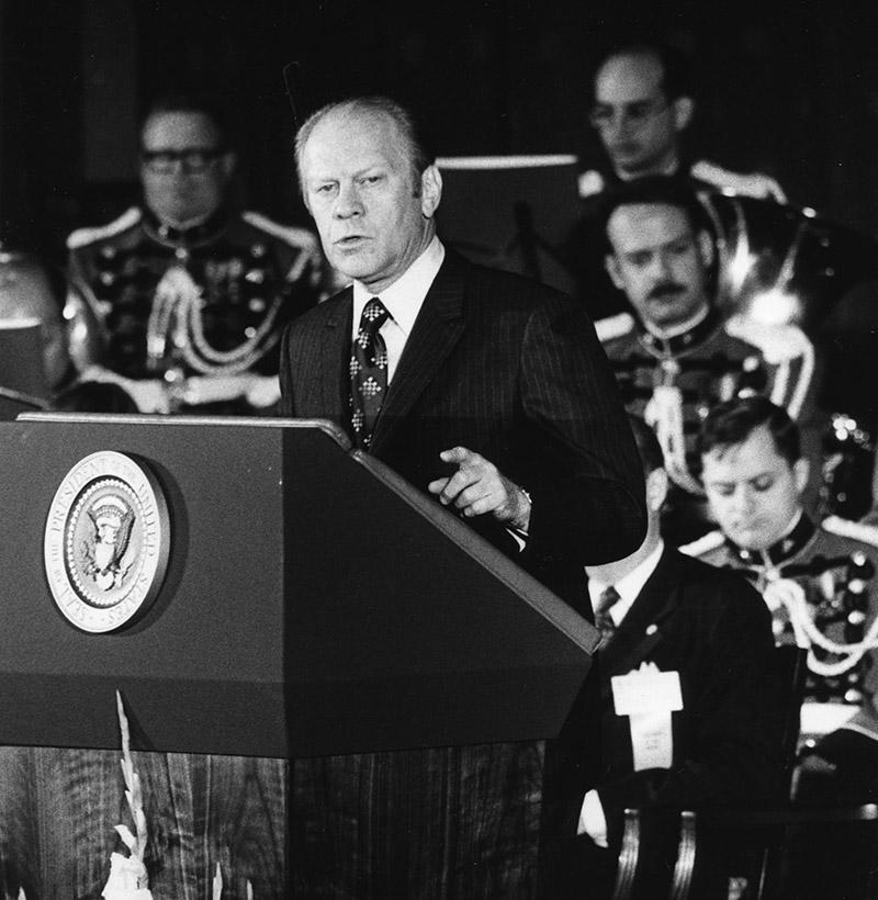 President Gerald R. Ford addresses the 63rd Annual Meeting of the U.S. Chamber of Commerce at Constitution Hall April 28, 1975.