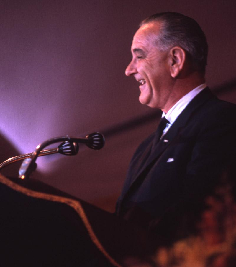 President Lyndon B. Johnson speaking at the Chamber's 1965 Annual Meeting.