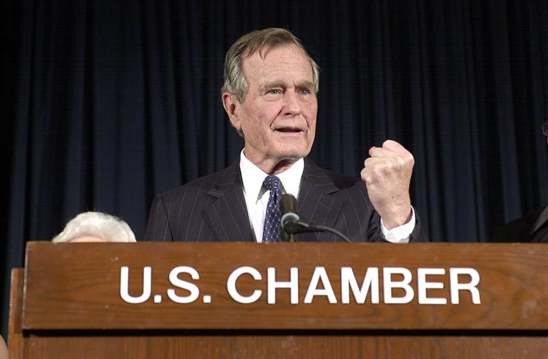 January 18, 2001 - Former President George Bush visits the U.S. Chamber of Commerce.