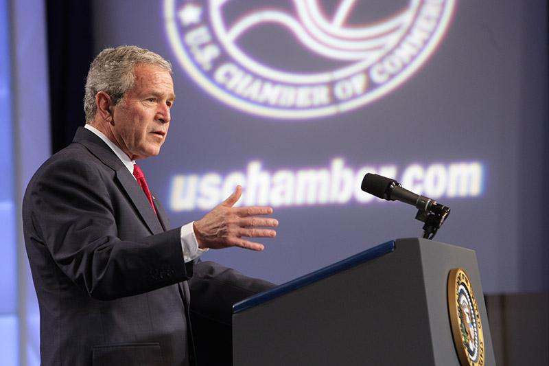 President George W. Bush addresses the Chamber's Small Business Summit at the Renaissance Hotel on April 18, 2008.