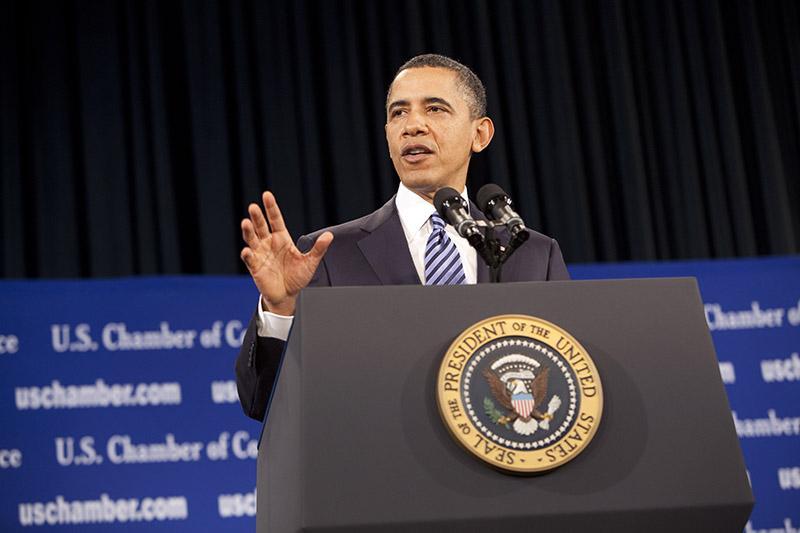 President Barack Obama speaks at the Chamber on February 7, 2011.