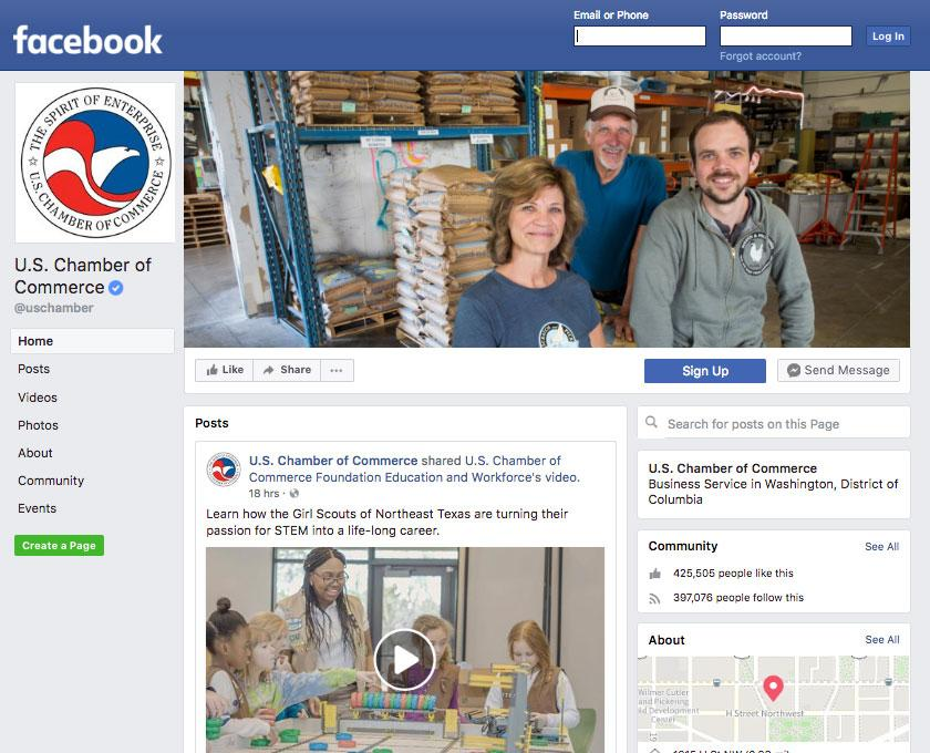 U.S. Chamber of Commerce Facebook Page Screenshot