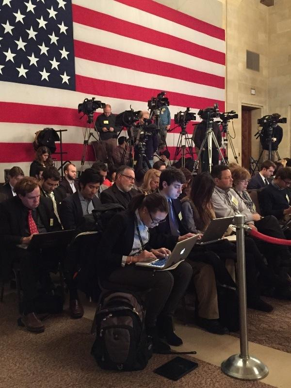 Press area during State of American Business address