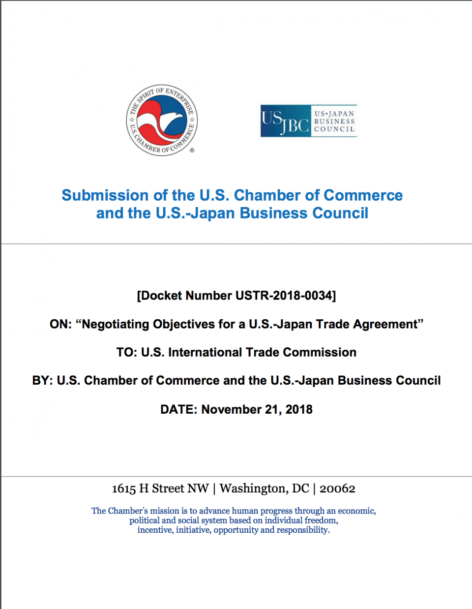 Comments for U.S. Japan Trade Negotiations Cover Image